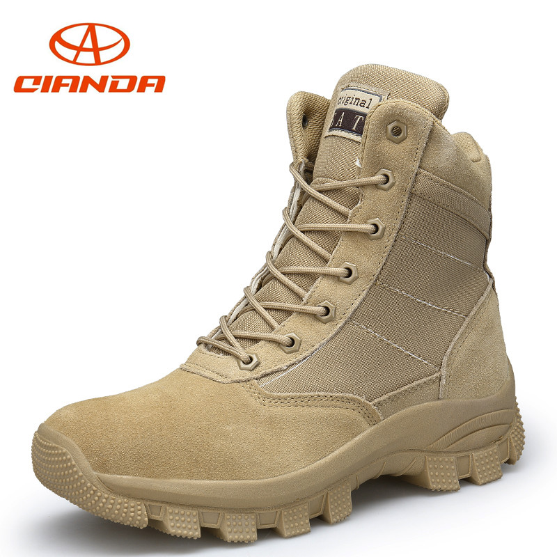 цена на Men Desert Military Tactical Boots Male Outdoor Hiking Shoes Sneakers for Men Cushioning Non-slip Wear Sports Climbing Shoes