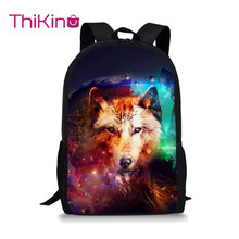 Thikin Moonlight wolf Students School Bag for Boys Teenagers Backpack Travel Package Shopping Shoulder Women Mochila