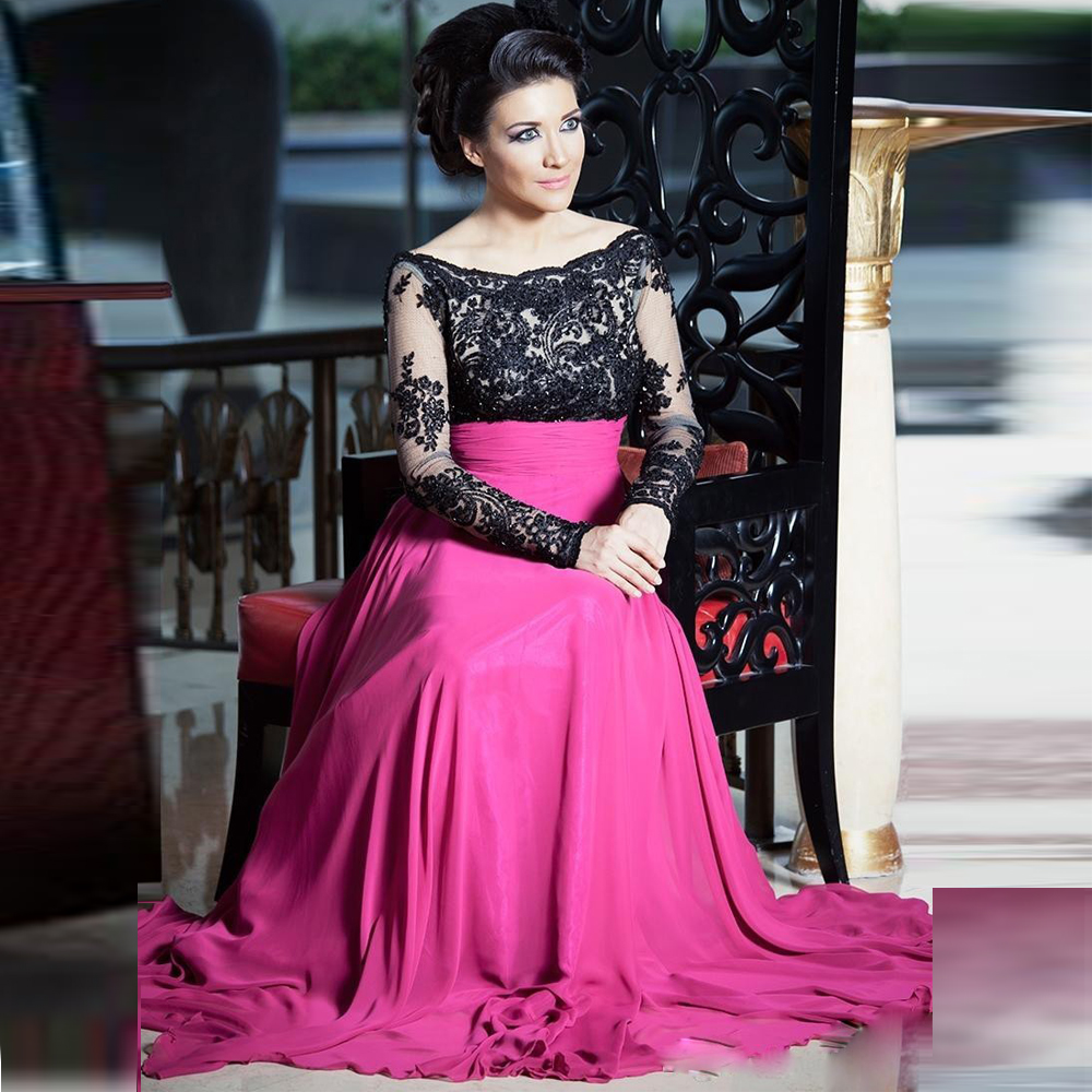 Robe De Soiree Black Full Sleeves Mother of the Bride Dresses 2018 Sheer Formal Party Pageant Gowns Plus Size Dubai Kaftan