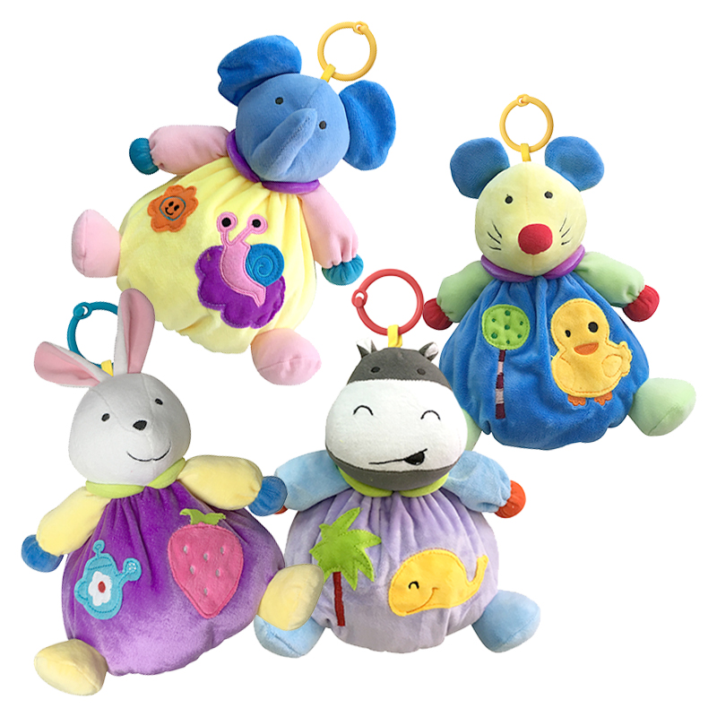 Baby Rattles Toys Baby Infant Animal Soft Rattles Bed Crib Stroller Music Hanging Bell Toy Kawaii Kids Stuffed Toys For Children