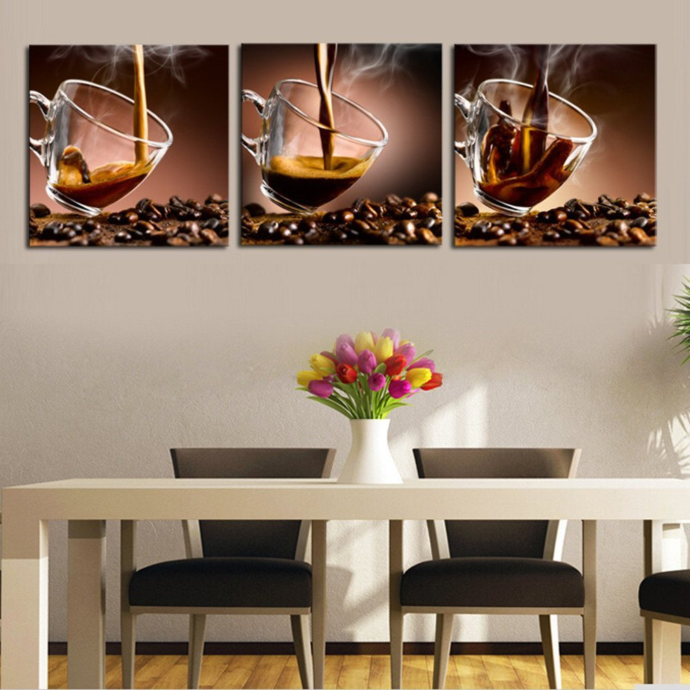 Luxry 3 Piece Coffee Cup Modern Home Wall Decor Canvas Art Picture Print  Painting On Canvas