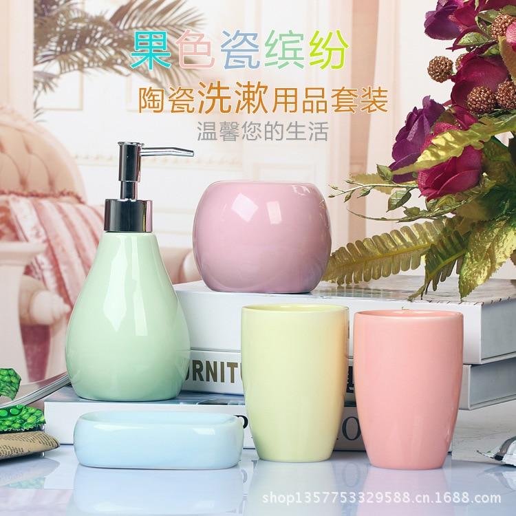 Wedding Supplies Creative Bathroom Set Ceramic Bathroom Accessories Round Shampoo Bottle Toothbrush Holder Tumbler Soap Tray