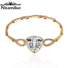 Niumike Jewelry Bracelet triangle crystal Copper Alloy Embellished with crystals from Swarovski Women Jewelry Fashion Bracelet 2018 new fashion jewelry crystal from swarovski bracelet flashing little swan bangles women romantic christmas gift