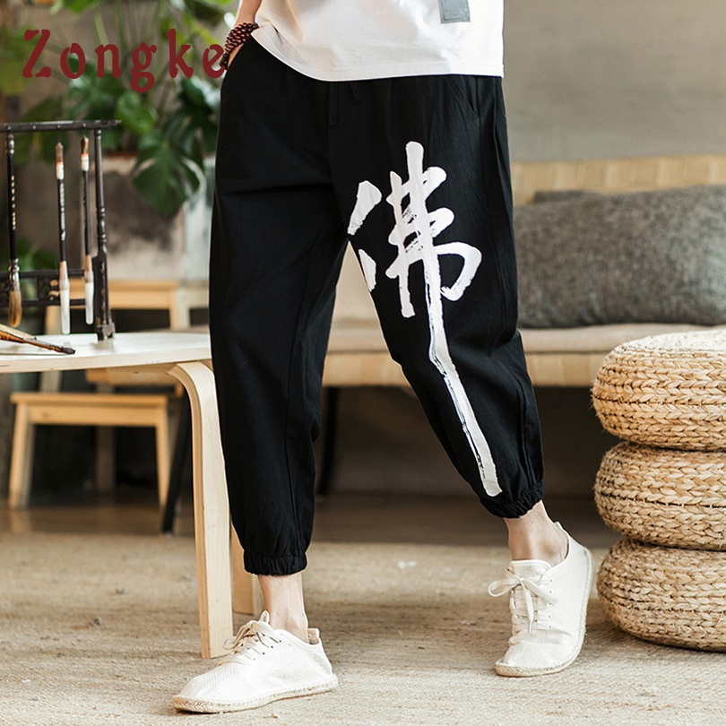 Zongke Chinese Buddha Character Print Ankle-Length Casual Pants Men Fashions Hip Hop Pants Men Joggers Streetwear Men Pants 2019