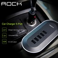 ROCK Universal 5 Cargador de Coche USB 1.3 m cable de alimentación de 5 v 4.8A salida de carga rápida cargador de coche adaptador para iphone 7/7 plus/galaxy S6