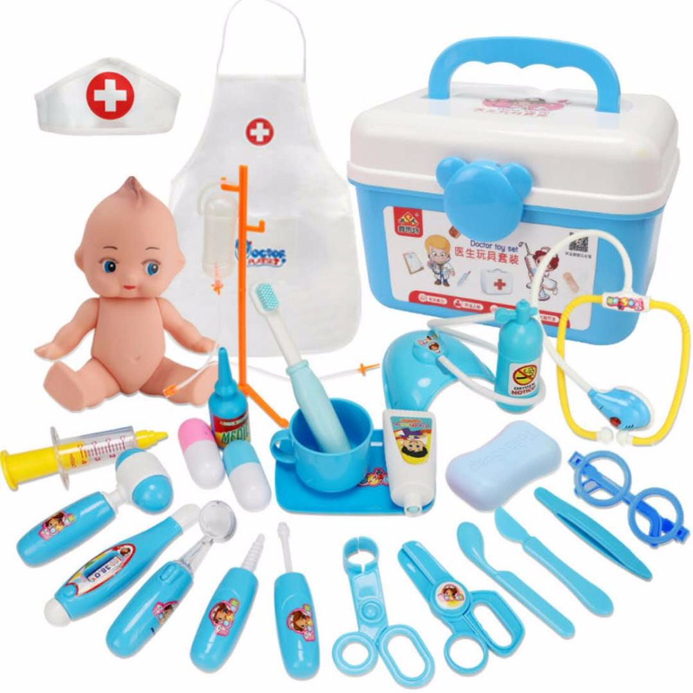 Kids Toys Doctor Toy Set Baby Suitcases Medical Kit Cosplay Dentist Nurse Simulation Medicine Box With Doll Costume Stethoscope Modern Techniques