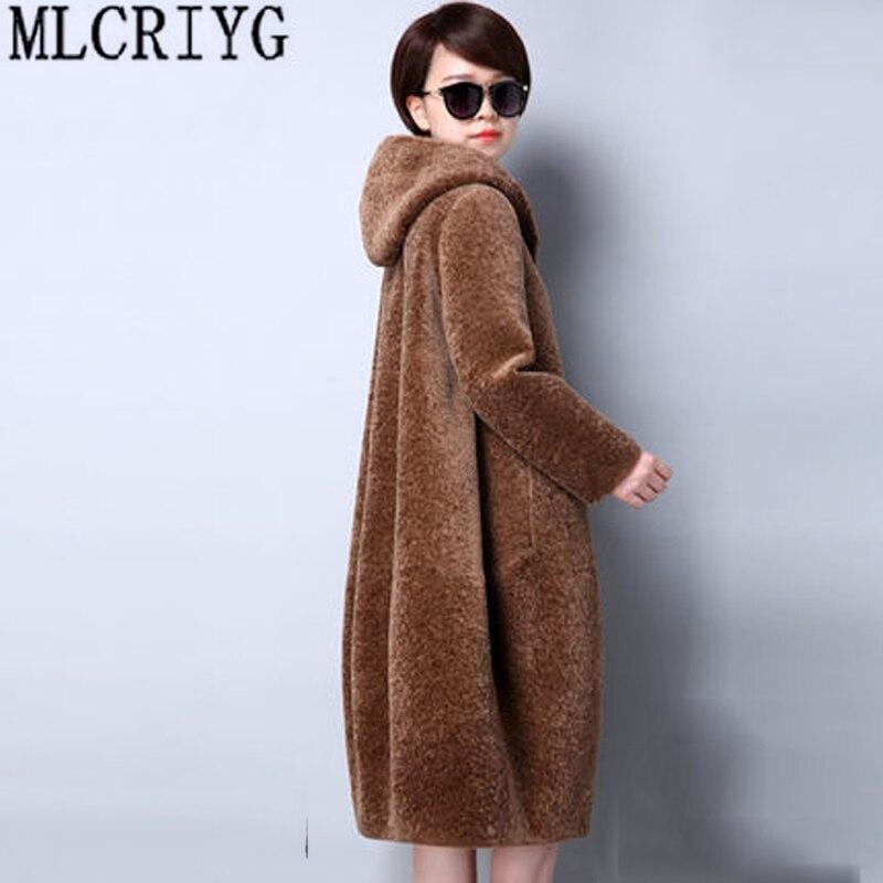 MLCRIYG Réel Manteau De Fourrure Tonte des Moutons 100% Laine Manteau Femmes Plus La Taille 2018 Hiver Manteau Femme Veste À Capuche Abrigos Mujer LX332