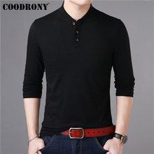 COODRONY Long Sleeve T Shirt Men Streetwear Tshirt 2019 New Arrival Casual Stand Collar T-Shirt Men Cotton Tee Shirt Homme 95009 цена