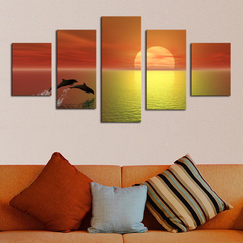 2016 New Sale Oil Painting Unframed 5 Piece Sunset Sea Modern Home Wall Decor Canvas Picture Art Hd Print Painting On Artworks