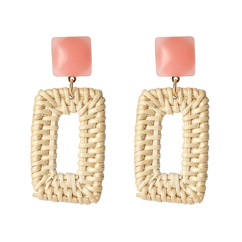 New Trendy Women Handmade Rattan Straw Weave Circle Drop Dangle Earrings Jewelry