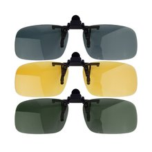 Driving Night Vision Clip-on Flip-up Lens Sunglasses Cool Eyewear Clip On Lens Anti-UV 400 Unisex for Women & Men unisex polarized clip on sunglasses near sighted driving night vision lens anti uva anti uvb cycling riding sunglasses clip