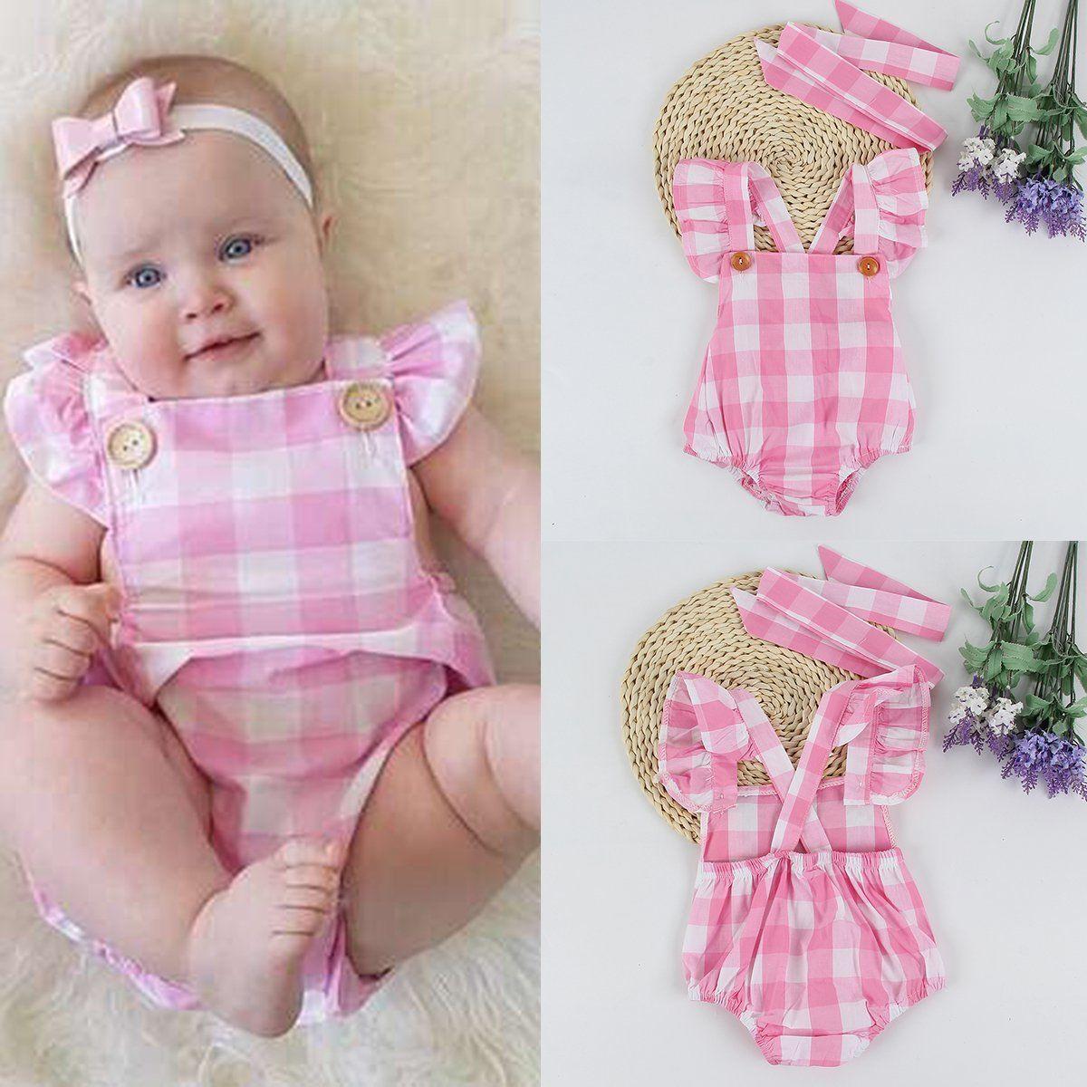 Bebé recién nacido Niñas romper jumpsuit trajes sunsuit ropa Rosa ...