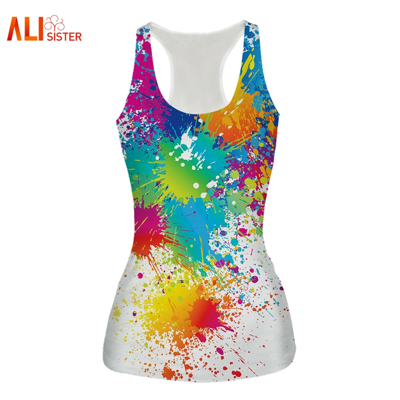 Alisister Europa Und Amerika Mode 7 Farben Pigmentdruck 3d Weste Frauen Tank Tops Casual Sommer Top Tees Free Size Dropship