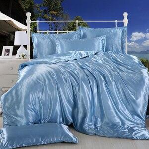 Image 5 - LOVINSUNSHINE sábana de cama de lujo US King Size funda de edredón de seda de satén juegos de cama AB07 #