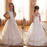 Beautiful Princess Dress with Bow V Back Lace Up Robe De Mariee First Communion Gowns Customized Flower Girl Dress for Wedding