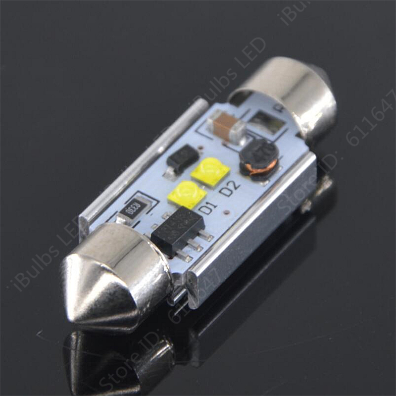 2pcs Festoon Canbus 36mm 39mm 41mm C5W 1 LED High Power Car Interior Reading Lamps Constant Current No Electrode DC 12V 24V 4pcs festoon auto 31mm 36mm 39mm 41mm c5w 4 led 5050 smd canbus error free car interior lamp no electrode boot light
