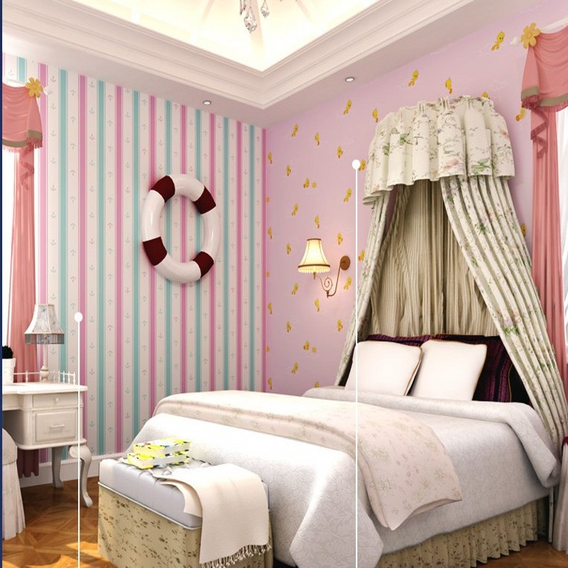 Free Shipping Mediterranean striped boy bedroom wallpaper warm pink girl children room non - woven wallpaper beibehang warm pink girl room wallpaper children s room non woven three dimensional love childrens clothing shop wallpaper