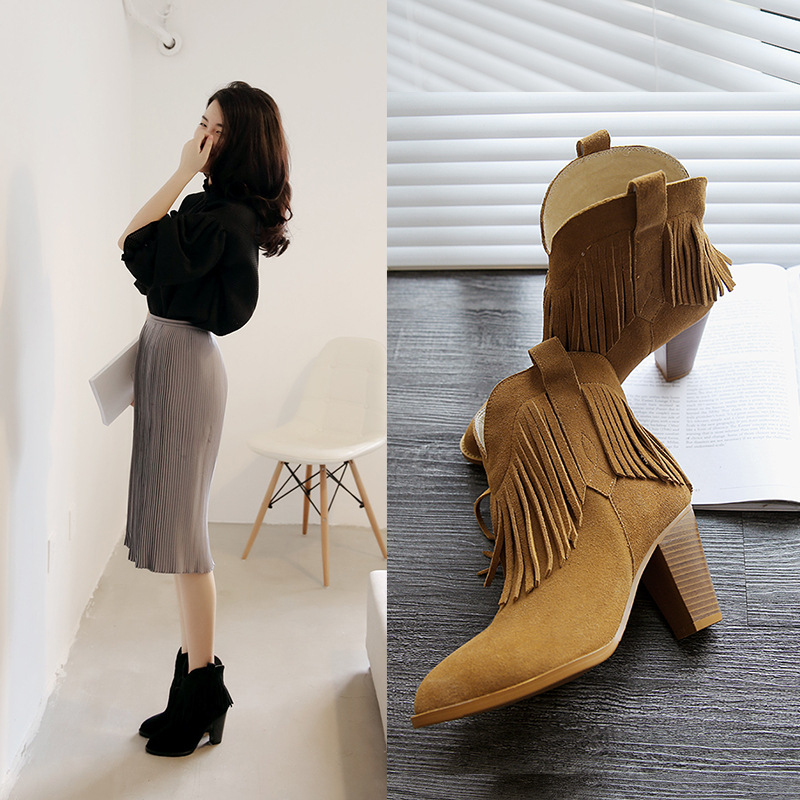 Women Autumn Winter Thick High Heel Genuine Leather Tassel Round Toe 2015 New Fashion Fringe Ankle Boots Size 34-39 SXQ0905 women autumn winter genuine leather thick mid heel side zipper round toe 2015 new fashion ankle boots size 34 39 sxq0905