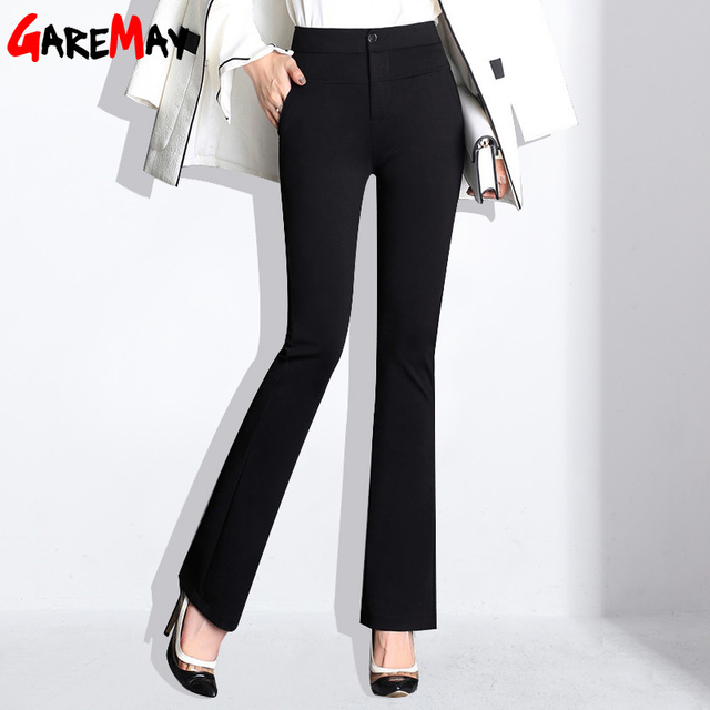 47104d2fbb46 GAREMAY Black High Waist Office Flare Pants Women Plus Size Ladies Casual  Pants For Women Slim
