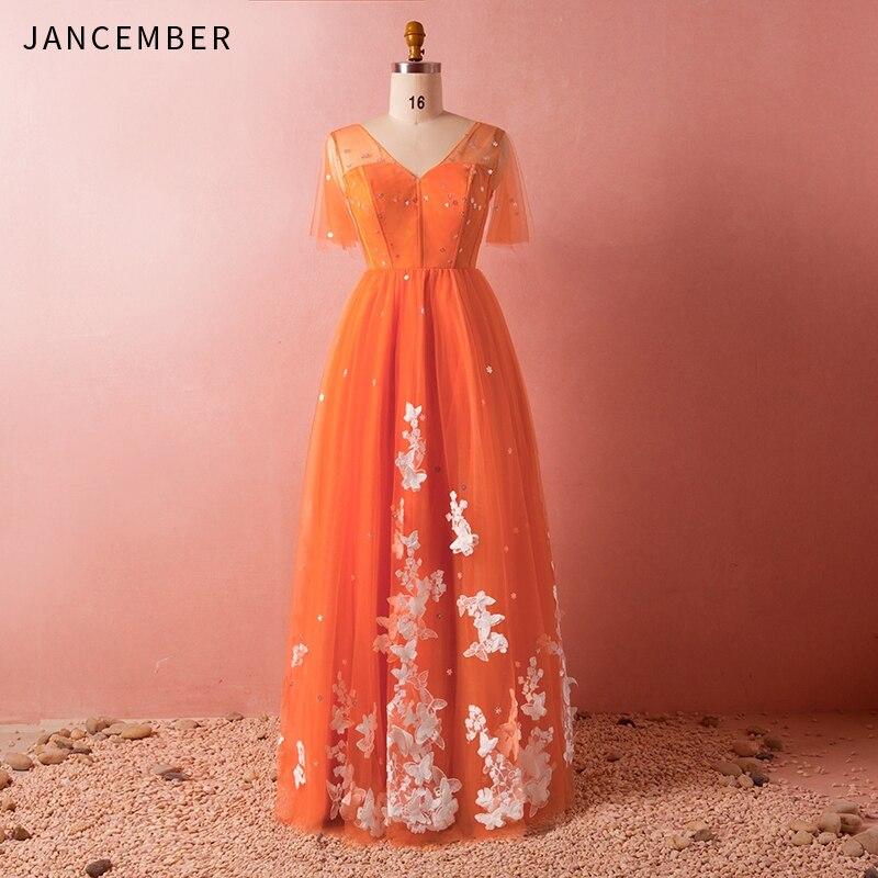 JANCEMBER Plus Tard, Plus La Taille de Demoiselle D'honneur Robes De Mode Illusion Décolleté Dos Nu Applique Lace Up Retour Invité De Mariage Robe 2019