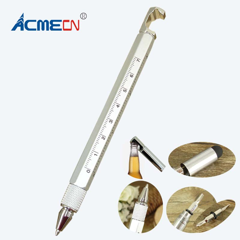 ACMECN Tool Pen Cute design Aluminium Hexagon Ruler Pen with Screw Driver and Touch Stylus 6 in 1 Bottle Opener Silver Brand Pen 7 in 1 tech multitool pen with ruler bottle opener phone stand ballpoint pen stylus pen and flat and phillips screwdriver bit