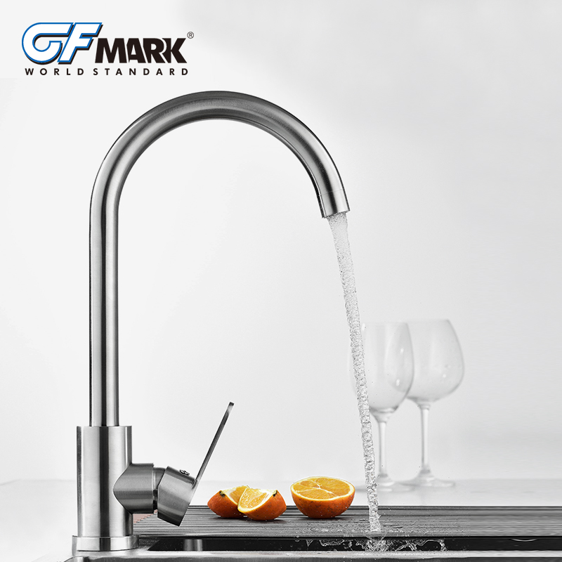 GFmark Kitchen Faucet Brushed Crane Sink Taps Home Improvement SUS304 Stainless Steel Water Mixer Tap Faucet