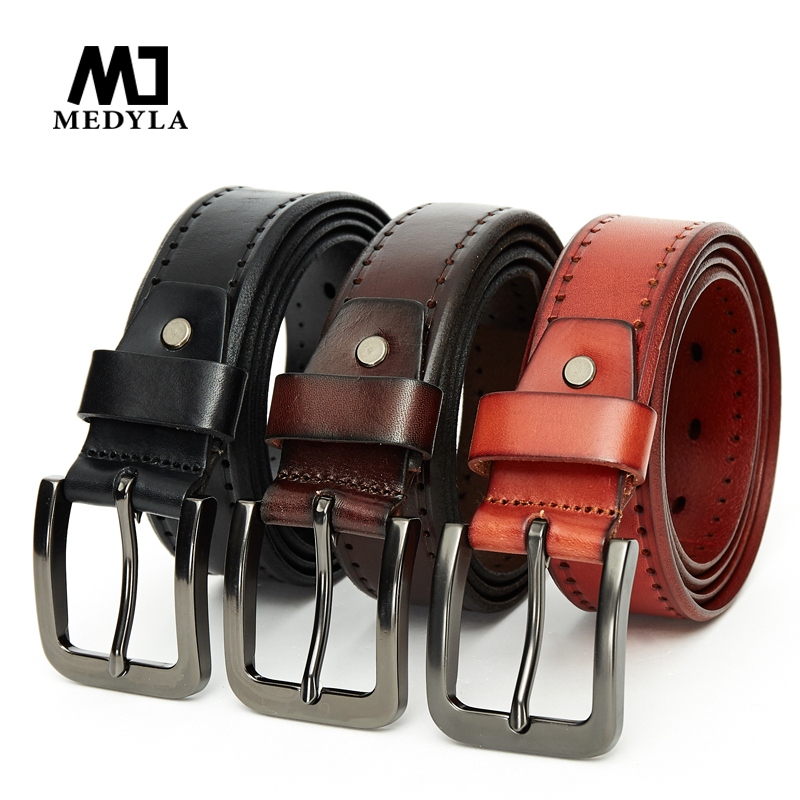 MEDYLA 100% Cow Genuine Leather top layer pure cowhide business buckle   belt   leisure fashion super value leather   belt   105 to130cm