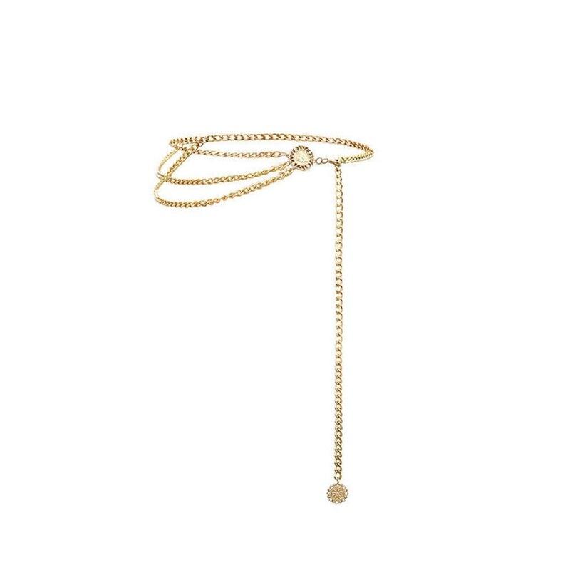 Женский модный пояс, высокая талия, Золотая узкая металлическая цепочка, массивная бахрома - Цвет: style 1 gold