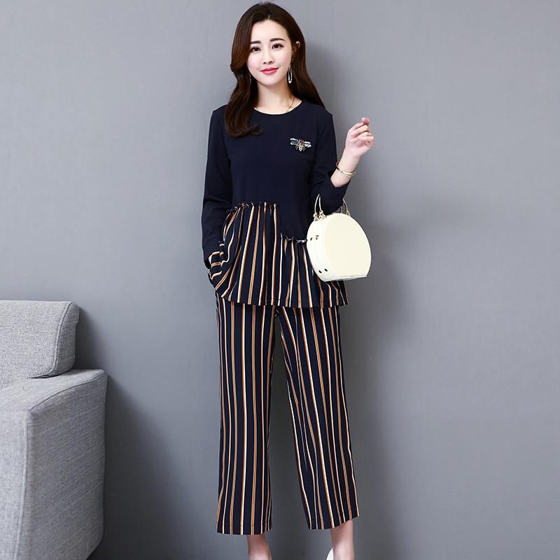M-5xl Dark Blue Autumn Striped Patchwork Two Piece Sets Women Plus Size Long Sleeve Tops And Wide Leg Pants Office Elegant Suits 29