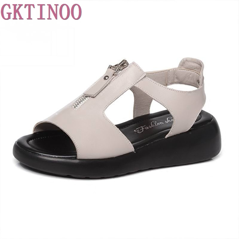 GKTINOO Women Sandals Genuine Leather Platform Summer Shoes Open Toe Sandals Platform Wedges Women's Shoes Plus Size 34-43 gktinoo summer shoes woman genuine leather sandals open toe women shoes slip on wedges platform sandals women plus size 34 43