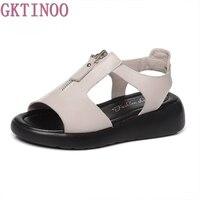 GKTINOO Women Sandals Genuine Leather Platform Summer Shoes Open Toe Sandals Platform Wedges Women's Shoes Plus Size 34 43
