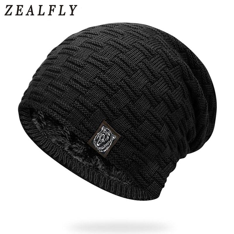 Tiger Logo Men'S Winter Hats Casual Brand Knitted Ladies Hats Beanies Stocking Hat Inside Velvet Bonnet Hats For Men