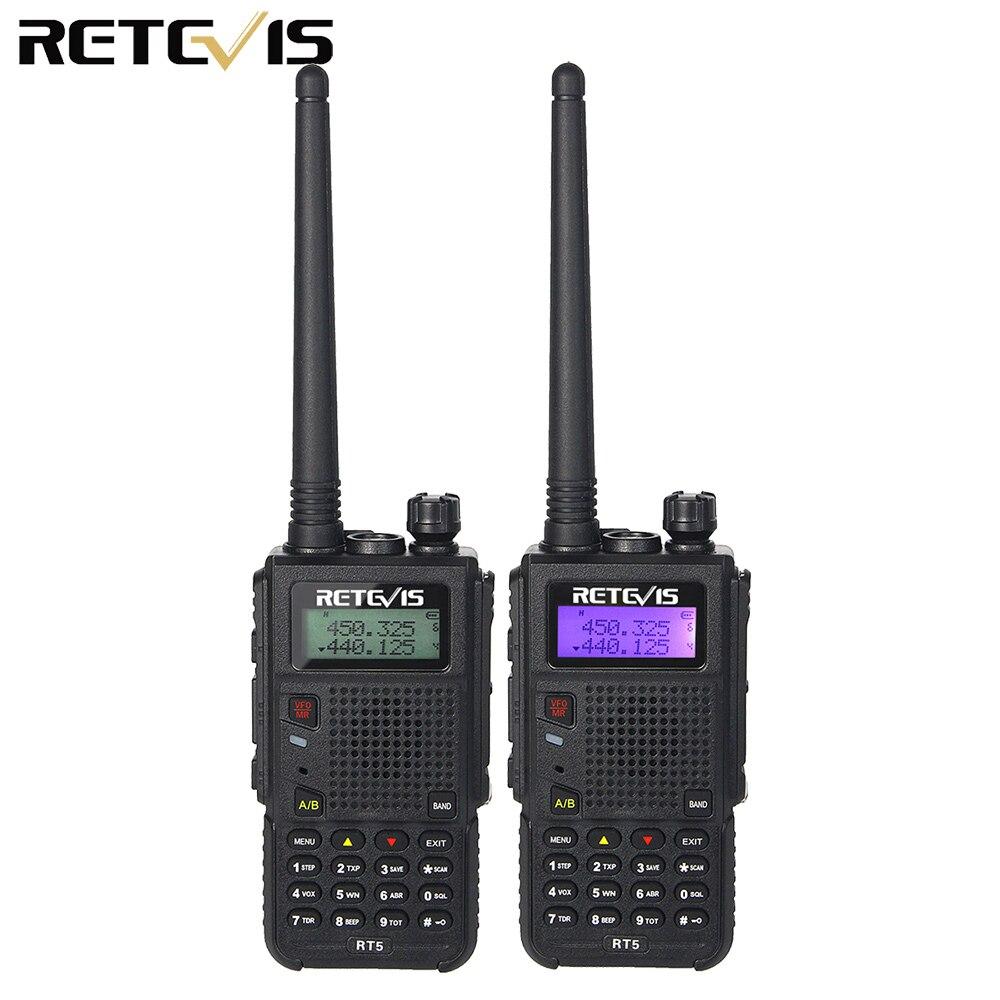 2 pcs 7 w Talkie Walkie Retevis RT5 Double Bande VHF + UHF 136-174 + 400-520 mhz Ham Radio Hf Émetteur-Récepteur Scan VOX A9108