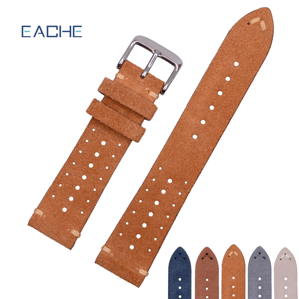 EACHE Racing Suede Genuine Leather Watch Band For Man/Women Brown Grey Beige Black Blue Watch Straps 18mm 20mm 22mm eache suede design special