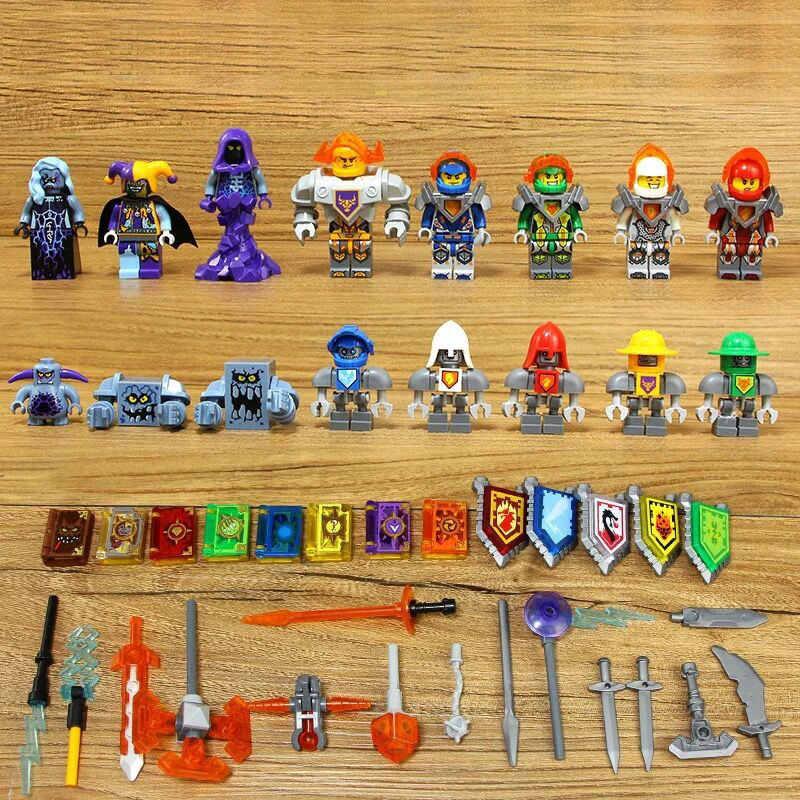 Ninjago + Nexo Knights + Bintang Perang Super Hero + Batman X Pria Pencampuran Angka Lloyd Action Figure Bangunan blok Kompatibel dengan Legoe
