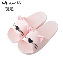 Whoholl Mens Slippers Women Cartoon Cat Men Shoes Eyes Flip Flops Male Sandals Two Different Soles Summer Couples Man