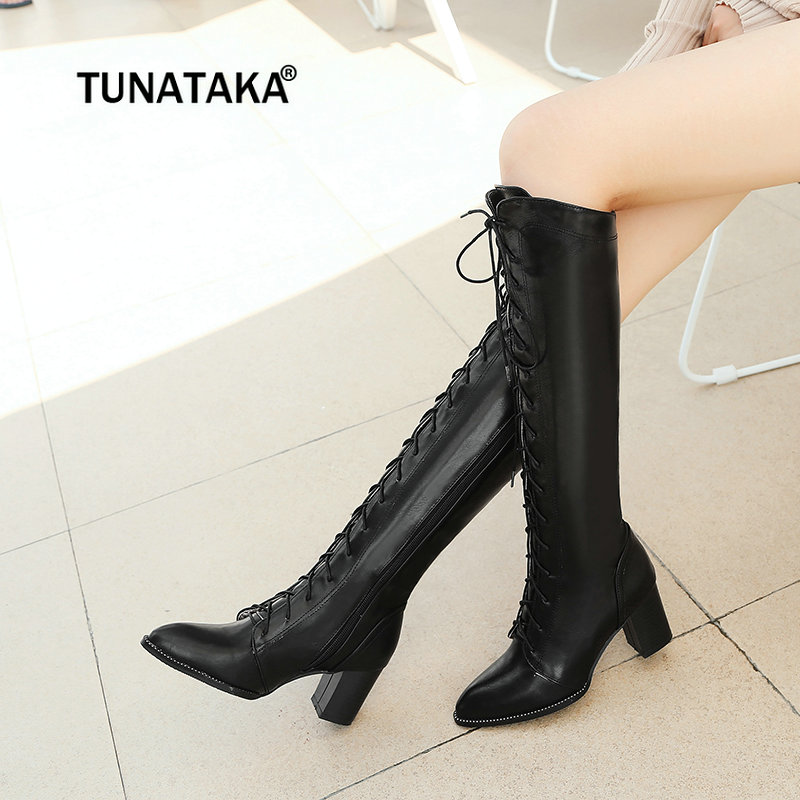 Women Thick High Heel Knee High Boots Fashion Side Zipper Lace Up Pointed Toe Winter Women Shoes Beige Black Brown