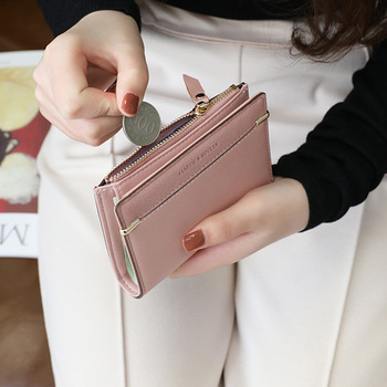 Women Wallet Fashion Short Zipper Hasp Purse Small Clutch INS buckle PU Leather Female Wallets Card Holder Coin Purse