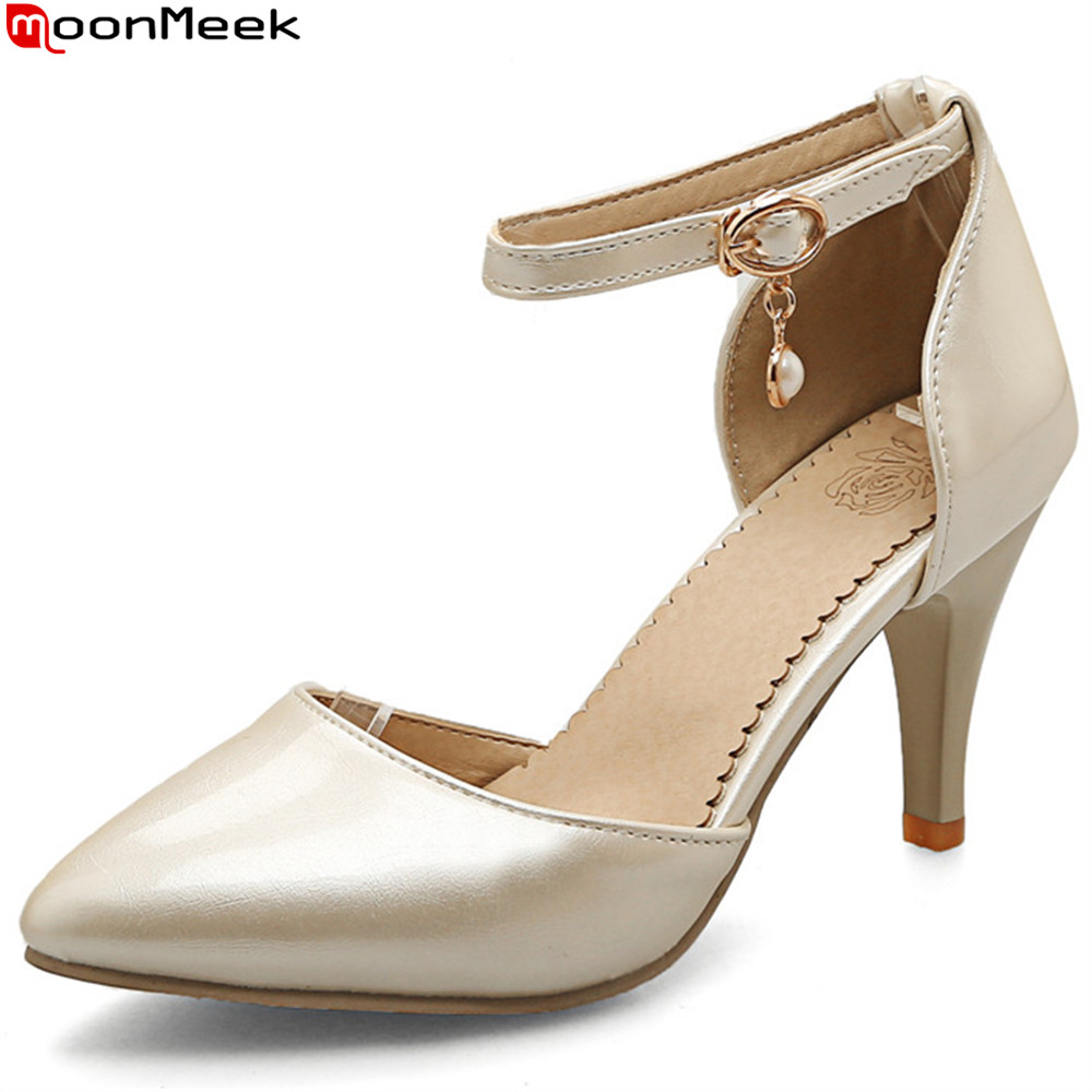 MoonMeek sexy female 2018 fashion pumps pointed toe thin heels with buckle extreme high heel party wedding shoes woman shoes 2018 women high heel party pumps wedding sexy shoes lady thin heels 9 cm ankle buckle strap pointed toe rivet nightclub fashion