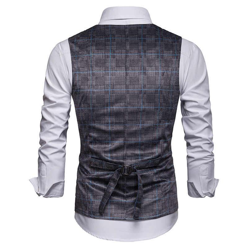 Мужской Клетчатый плед, жилет 2019, новый приталенный двубортный жилет, мужская деловая повседневная одежда, жилеты для мужчин