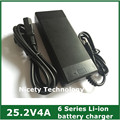 25.2 V 4A 25.2 v4a de litio Li ion cargador para 6 Series 21.6 V 22.2 V 24 V de litio Li ion batería del Li polímero de buena calidad