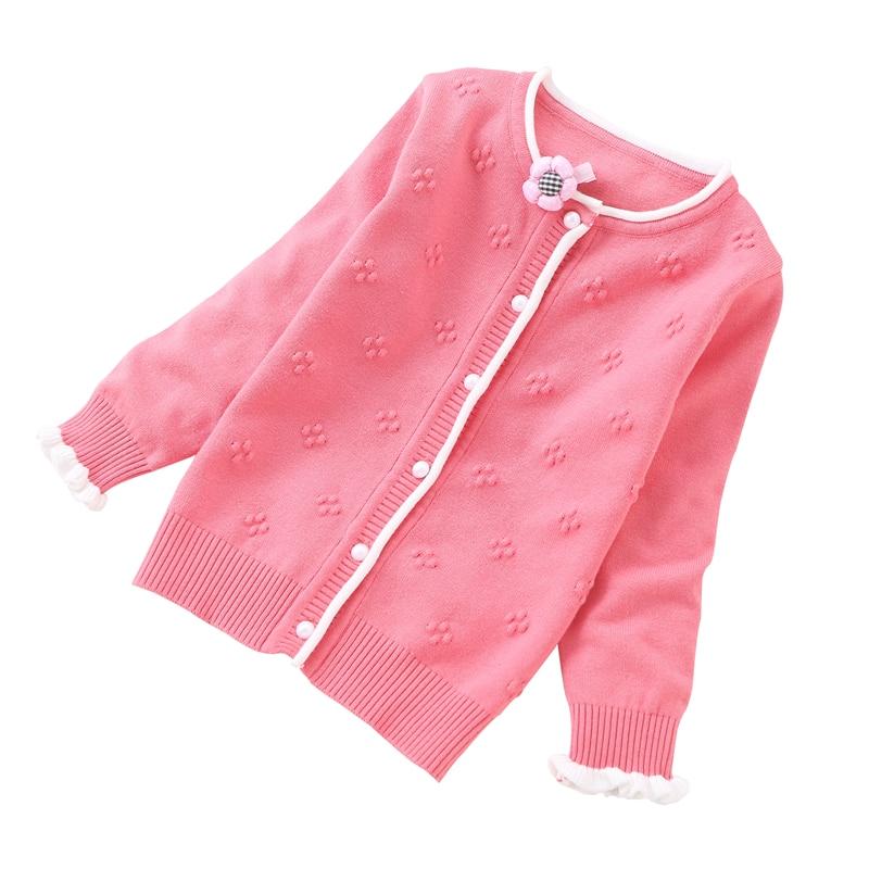 Rlyaeiz 2018 Baby Girls Sweater Casual Girls Cardigan Spring Autumn Thin Long-Sleeve Hollow Cotton Knitting Children Sweater