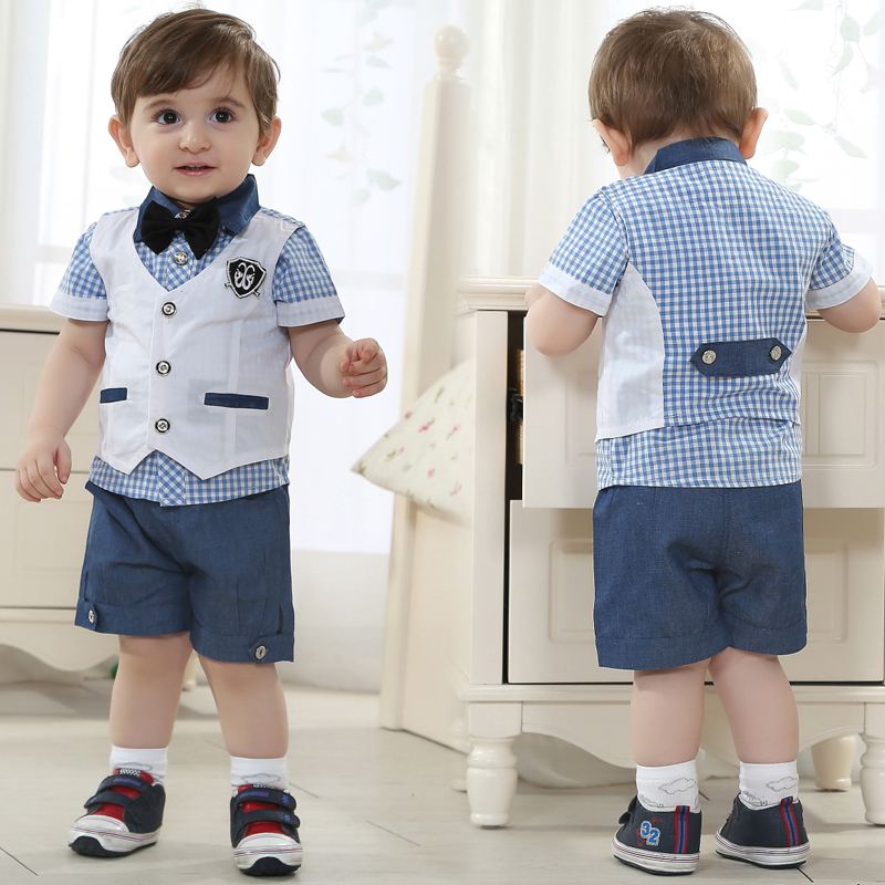 kids summer clothing set baby boy birthday dress wholesale ...