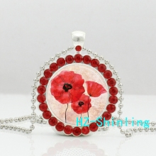 New Classic Field Of Poppies Crystal Necklace Red Poppy Pendant Glass Floral Art Jewelry Silver Pendants Necklaces