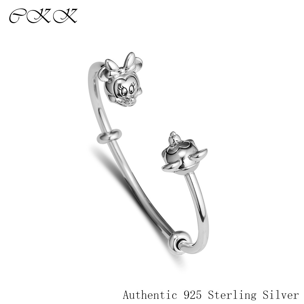 Open Bangle 100% 925 Sterling Silver Mickey and Minnie Bangle Bracelets for Women Gift DIY Charm Beads Free Shipping PFB065Open Bangle 100% 925 Sterling Silver Mickey and Minnie Bangle Bracelets for Women Gift DIY Charm Beads Free Shipping PFB065