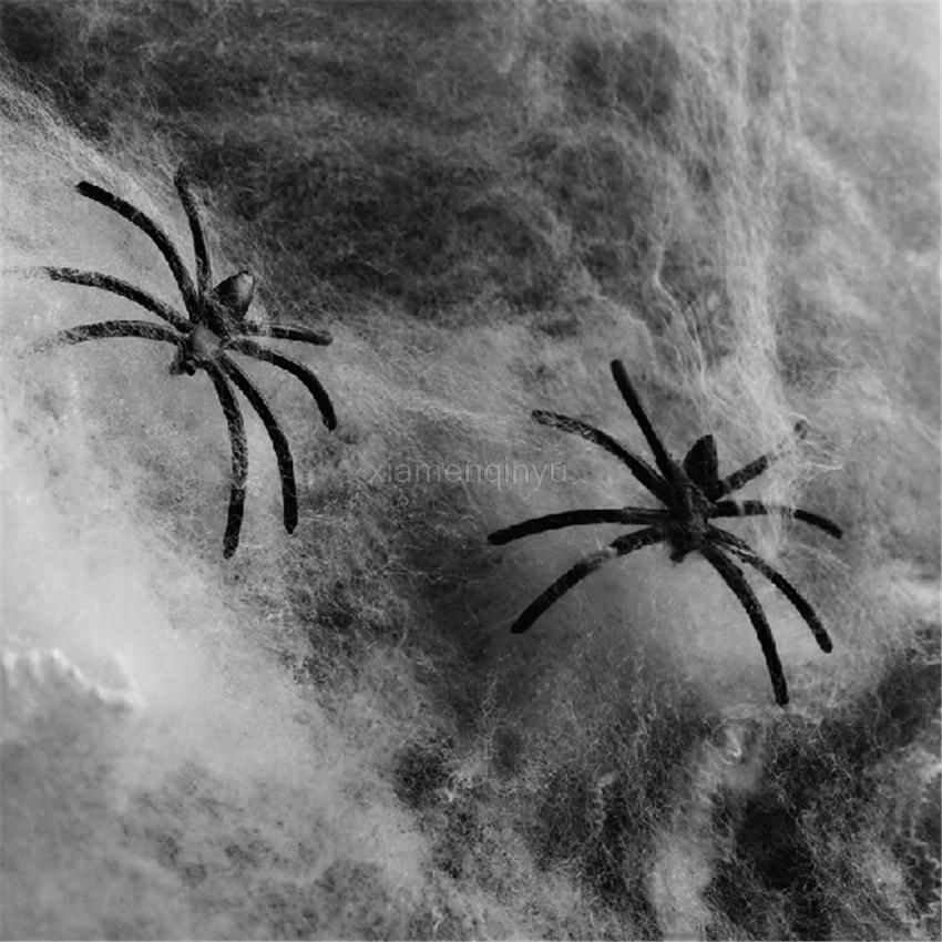 halloween decoration plastic black spider funny joking toys 1 spider web 2 spiders realistic props