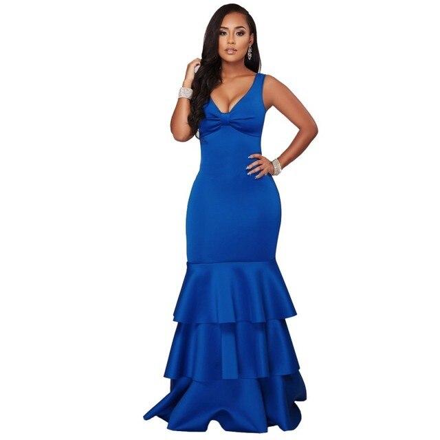 f1eff3f6bfa97 Zmvkgsoa mermaid فساتين مثير ليلة نادي فساتين زائد الحجم الملكي الأزرق كشكش  أسود طويل فستان ماكسي