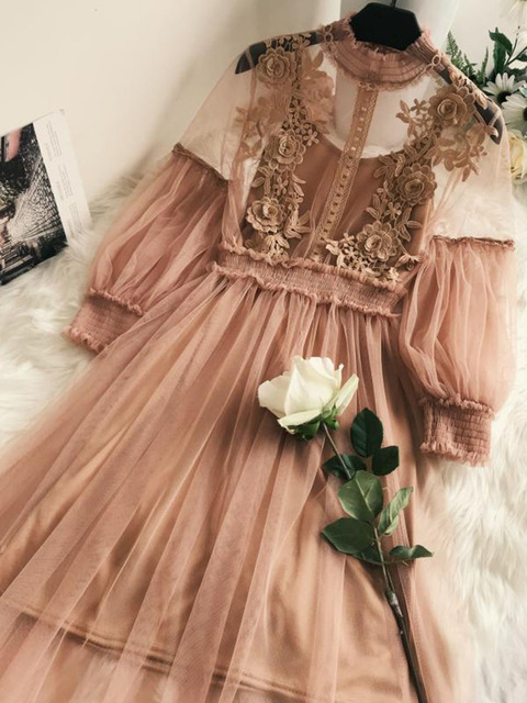 Sisjuly boho dresses Summer a line dot empire lace zipper voile elegant female Spring mid calf dress pink sexy see through sweet