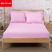 Three piece 100% satin cotton fitted sheet+pillow cover 1.2m/1.5m/1.8m Bed elastic deep mattress cover hotel bed linen bedspread
