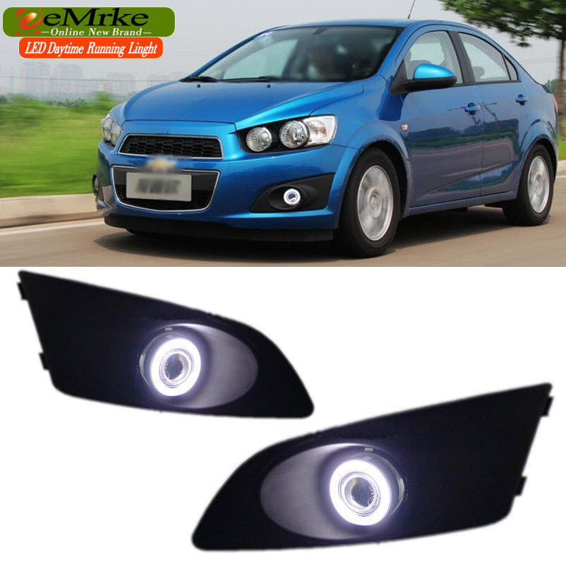 EEMRKE Car-styling FOR Chevrolet Aveo Sonic Holden Barina LED Angel Eyes DRL E13 Fog Lights H11 55W Daytime Running Lights maxwell mw 2015m gd фен выпрямитель для волос